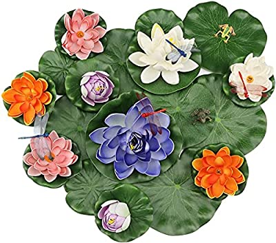 24 Pieces Lily Pads for ponds, MicButty Artificial Water Floating Lotus Flowers decor with Artificial dragonfly frog Lotus Leaves, Water Lily Pads Ornaments for Pond Pool Aquarium Water Decoration