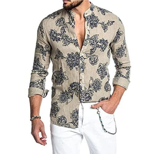 NIDONE Camisa de Manga Larga de los Hombres Camisa Suelta de los Hombres Camisetas de la Flor Delgado de la Camisa del Collar de pie Delgado Botón de Manga Larga Abajo Arriba Abajo