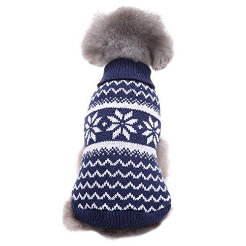 LvRao Welpe Hund Katze Strickpullover Sweater Niedlich Jumper Haustier Weihnachten Kostüm Mantel (Blau Schneeflocke, 2XL)