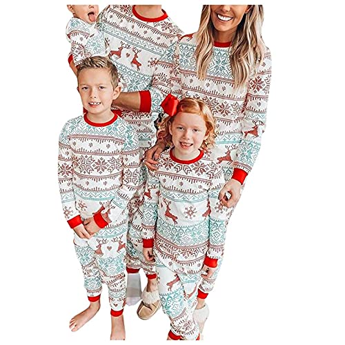 Matching Family Outfits for Photoshoot Christmas Pajamas Deer Snowflake Stripes Top Bottom Pants PJ's Sleepwear Green