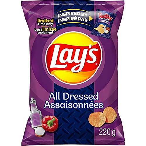 Lay's All Dressed Flavoured Potato Chips, Limited Time, 220g/7.8 oz., Bag {Imported from Canada}