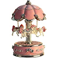 LIWUYOU Luxury Large Size Color Change LED Light Luminous Rotating Carousel Horse Musical Box With Music of Castle in the Sky Color Pink by LIWUYOU