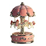 LIWUYOU Vintage Luxus-Karussell / Musikbox mit Pferden, mit farbiger LED-Beleuchtung, 'Castle in the Sky'-Melodie, metall, rose, Large