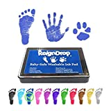 ReignDrop Ink Pad For Baby Footprint, Handprint, Create Impressive Keepsake Stamp, Non-Toxic and Acid-Free Ink, Easy To Wipe and Wash Off Skin, Smudge Proof, Long Lasting Keepsakes (Dark Blue)