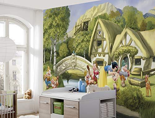 Komar Disney Fototapete SNOWWITHE | Größe: 368 x 254 cm (Breite x Höhe) | Tapete, Kinder, Wand, Kinderzimmer, Dekoration - 8-4110, Bunt
