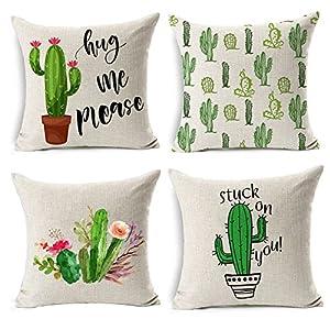 Gspirit 4 Pack Verano Estilo Cactus Algodón Lino Decorativo Throw Pillow Case Funda de Almohada 45x45cm, Regalo Divertido