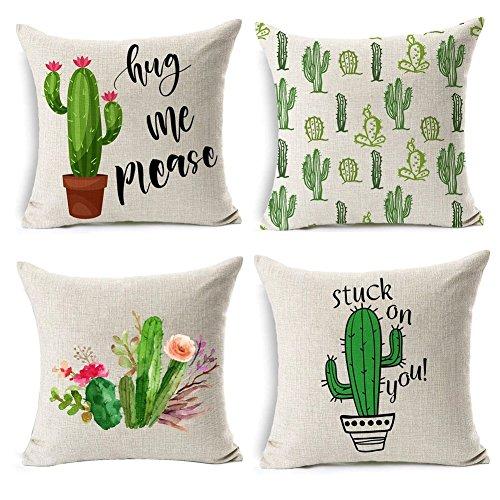 Gspirit 4 Pack Plantas suculentas Algodón Lino Decorativo Throw Pillow Case Funda de Almohada para Cojín 45x45 cm (2)