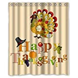 Top Home Textiles Colorful Art Turkey Happy Thanksgiving Day Waterproof Bathroom Fabric Shower Curtain [Duschvorh?nge] [Duschvorhang],Bathroom Decor 60