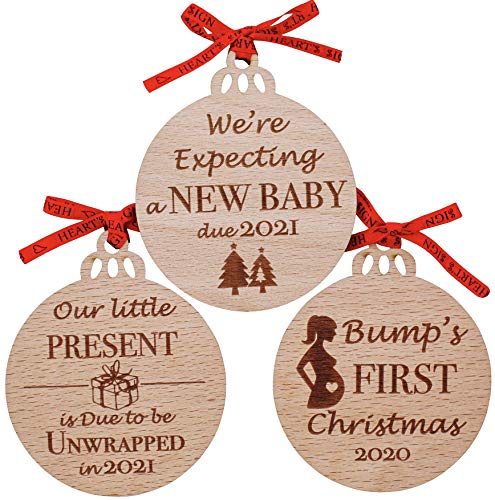 Heart's Sign Set of 3 Bumps First Christmas Ornament 2020   Baby On The Way Ornament   Christmas Pregnancy Announcement Ornament 2020   Mom to Be Ornament 2020   Grandparents Christmas Ornament Gifts
