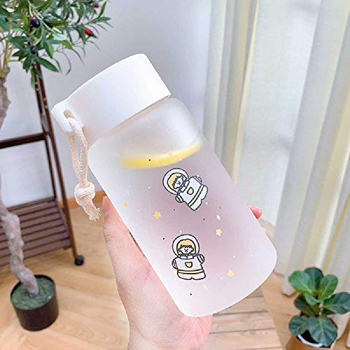 Literarische Kleine Frische Milchglas Tasse Große Kapazität Teetasse Mit Hanfseilgriff Harajuku Ins Windglas Wasser Tasse 350/500 ml/Jasmin Weiß Astronaut Trompete