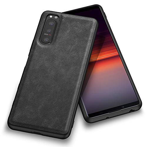 Kqimi Hülle for Sony Xperia 5 II, Premium Leather Fit Business Style Stylish Elegant Soft Grip Shockproof Anti-Scratch Protection Cover Hülles for Sony Xperia 5 II (6.1