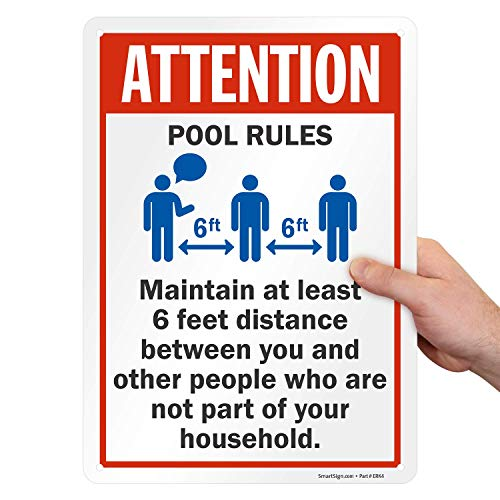 "SmartSign ""Attention - Pool Rules, Maintain at Least 6 Feet Distance"" Sign 