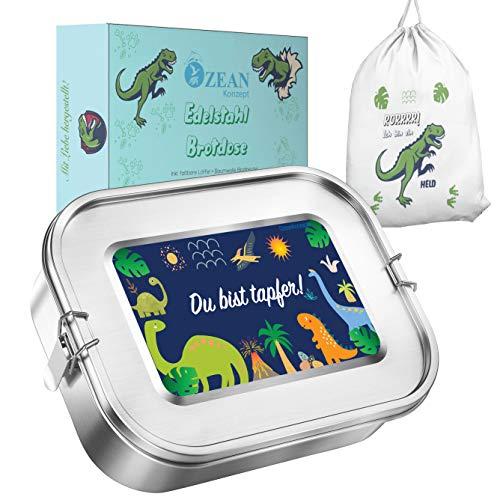 Edelstahl Brotdose auslaufsicher, Premium Dino Lunchbox mit 2 Trenner und extra GRATIS Austauschdichtung, Nachhaltige Geschenke für Kinder, Kindergarten, Schule und Wandern