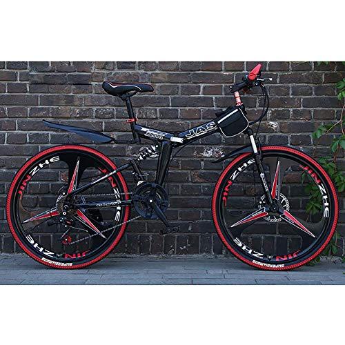 F-JWZS Unisex Dual Suspension Mountainbike, 21 speed vouwfiets, met 24 inch 3-Spoke wielen en dubbele schijfrem, voor Student, Kind, Adult Commuter City