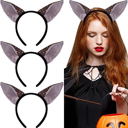 WILLBOND 3 Stücke Fledermaus Stirnbänder Halloween Ohren Kopf Zubehör Halloween Stirnband Kostüme für Frauen Mädchen Cosplay Prop