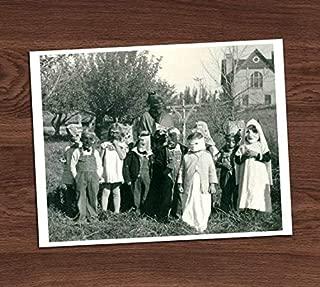 Creepy Cute Kids in Costumes Group Photo Vintage Art Print 8x10 Wall Art Halloween Decor UNframed