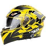 TKer Casco da Moto Integrato Bluetooth, Caschi integrali modulari per Motocross a Doppia Visiera Full Face per Uomini e Donne Adulti, ECE Certificazione,Giallo,XL