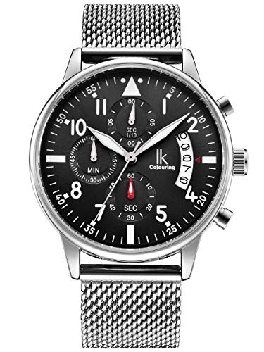 Alienwork Herren Damen Armbanduhr Quarz Silber mit Metall Mesh Armband Edelstahl Kalender Datum schwarz