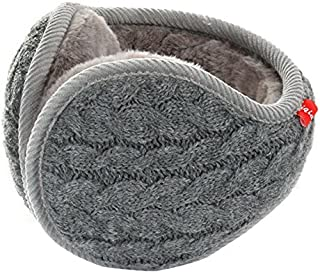 Unisex Warm Knit Cashmere Winter Pure Color Earmuffs with Fur Earwarmer, Adjustable Wrap