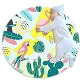 Alfombra redonda para gatear, gruesa, para niños, con impresión 3D, alfombra de dormir suave, 70 cm, lavable a máquina, flamenco y loro