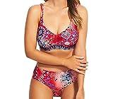 Bañadores Bandeau Mujer Natacion Trajes de Baño Mujeres Bikinis Talle Alto Tallas Grandes Trikini Banadores Señora Traje de Baños Bikini con Relleno Push Up Gordita Bañador Dos Piezas Surf Rojo L