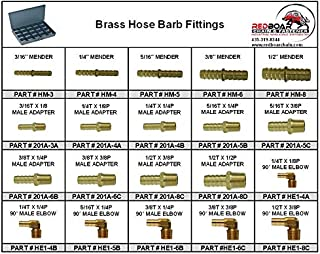 """Brass Hose Barb Fittings in 20 Hole Metal Tray Assortment (13-3/8""""w x9-1/4""""d x 2""""h)"""