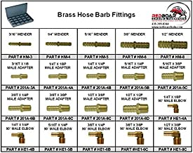 """Brass Hose Barb Fittings in 20 Hole Metal Tray Assortment (18""""w x 12""""d x 3""""h)"""