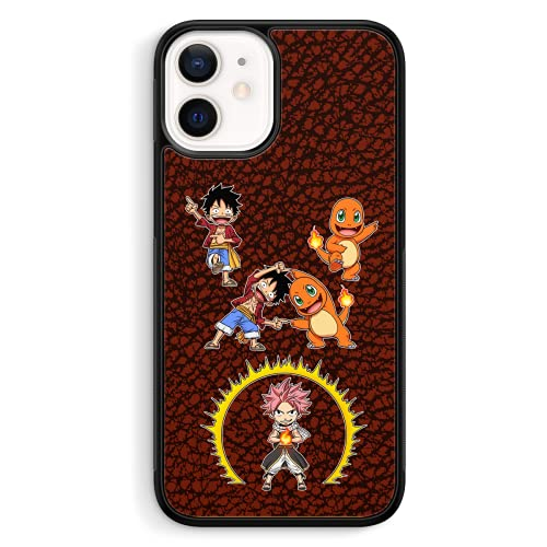 Coque de Smartphone iPhone 12 Mini (5.4) de Couleur (Noire) - Parodie One Piece - Pokémon - Fairy Tail - Natsu, Monkey D Luffy et Salamèche - Une Fusion de feu(Coque de qualité supérieure - imprimé