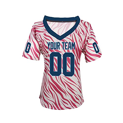 Pullonsy Pink Zebra Pattern Custom Football Jerseys for Girls Stitched Names and Numbers,Navy-Light Blue,Size M