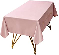 wrgfhb Solid Color Tablecloth Embroidered Velvet Tablecloth Windproof Rectangular Coffee Table Cloth Thick Waterproof Tablecloth 140x240cm Light Pink