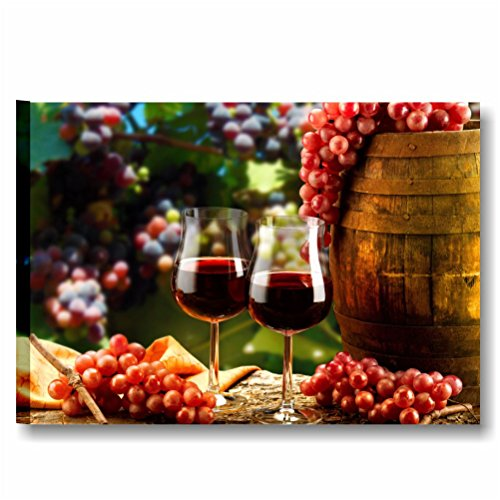 Quadri L&C ITALIA Calici di Vino 2 - Quadro Cucina Moderna Country Vintage 70 x 50 Stampa su Tela da Parete Arredo Ristroante Bar