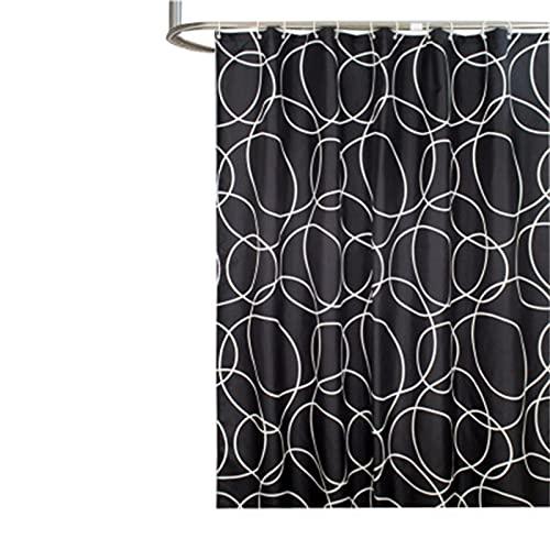SUUZQK Moderner Einfacher Schwarzer Kreis-Duschvorhang Verdickter Wasserdichter Und Schimmelwiderstandsfähiger Polyester-Duschvorhang Mit 12 Duschvorhangringen W240xH200cm