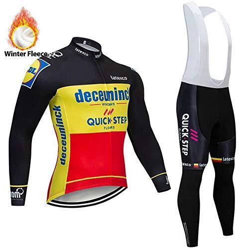 STEPANZU Abbigliamento Ciclismo Uomo Maglia Ciclismo Maniche Lunghe + Pantaloni con Bretelle per MTB Ciclista Bici Bicicletta Ciclismo Professionale