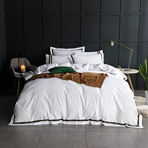 Części gospodarstwa domowego Czteroczęściowy zestaw pościeli Biały 100% Bawełna Zestaw pościeli Prześcieradło Hotelowe Prześcieradło Queen King Size Zestaw łóżek Kołdra coverropa de cama linge de l