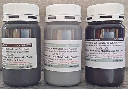 Betonfarben Tester je 100ml Anthrazit, Schwarz, Grau - Acrylsilikon für innen und außen (EUR 3,50/100 ml)