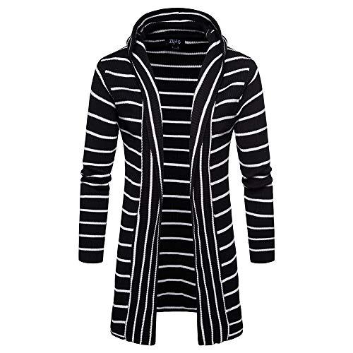 CICIYONER Männer Outwear Herren Mit Kapuze Solide Stricken Streifen Mantel Jacke Strickjacke Lange Ärmel Oberteile Bluse