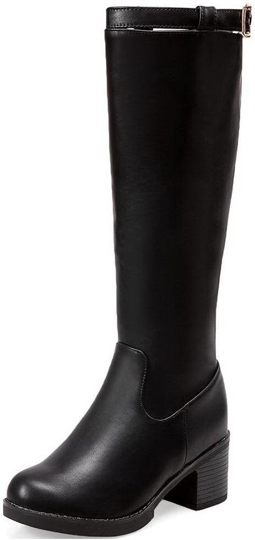 AllhqFashion Women's Soft Material Zipper Round Closed Toe Kitten-Heels High-top Boots
