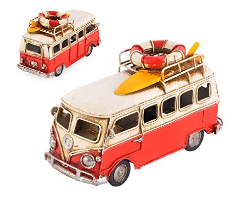 DSstyles 6.3 pulgadas de metal retro clásico T1 camper Van Beach Bus modelo de juguete para regalo de cumpleaños - rojo
