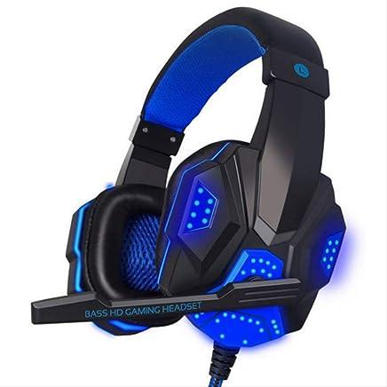 PMWLKJ 3.5 Mm Cablato Gaming Headset Rumore Isolamento Volume Controllo Cuffia Gaming per Laptop Computer Cuffia con Mic LED Luce Azzurro - Trova i prezzi più bassi