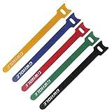 GWHOLE 60 Piezas Sujetacables de Velcro Bridas Ajustables Reutilizables - 1,2 x 18 cm, 5 Colores