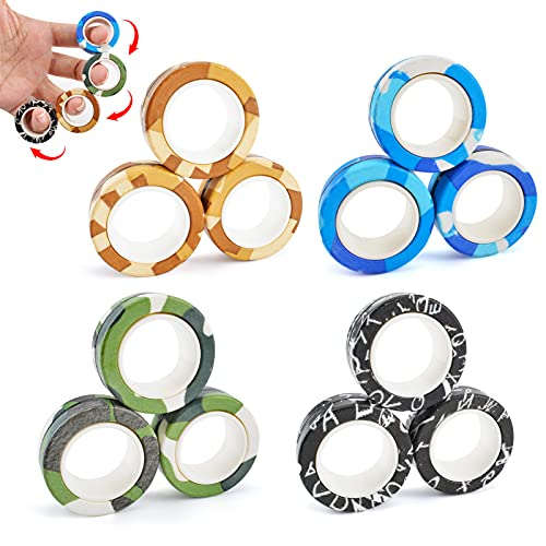 MRTREUP 12PCS Magnetic Rings Fidget Toys for Adults Kids, Newest Colorful Finger Rings Toy, Stress...