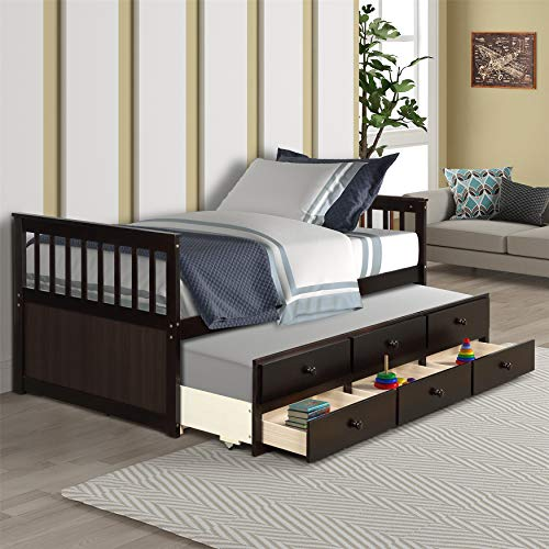 Wood Sofa Bed, Daybed with A Trundle Bed and Drawers, Platform Bunk Bed with Headboard,Espresso