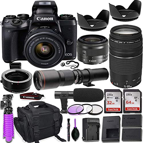 Canon EOS M5 Mirrorless Camera w/M-Adapter & Canon Lenses - EF-M 15-45mm f/3.5-6.3 is STM and EF 75-300mm f/4-5.6 III + 500mm Preset Telephoto Lens + Deluxe Travel Accessory Bundle (Renewed)