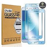 Owbb [2 Pièces] Bleu Protecteur D'écran en Verre Trempé pour Samsung Galaxy J7 2017 J730 Smartphone Couverture Complète Protection Haute Transparent pour Samsung Galaxy J7 Pro 2017