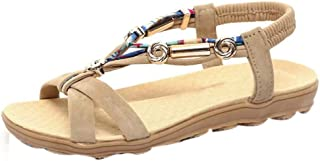 LONGDAY ❤ Women Summer Flat Sandals Bohemian Bead Coin Back Zip Thong Dressy Sandal Slingback Gladiator Beach Flip Flop