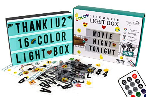 Color Changing Cinema Light Box Letters-240 Letters, Numbers, Emojis | 16 Colored Modern Cinematic Light Up Message Note Sign | Personalized A4 LED Lightbox with Extra Long Durable USB Cable
