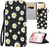 ZhuoFan Funda para Xiaomi Redmi Note 9/ Redmi 10X (4G) 6.53' ,Flores Negras Funda de Cuero PU Premium Carcasa el teléfono Flip Genuino Soporte Plegable Ranura Tarjeta Cierre Fundas Cover, crisantemo