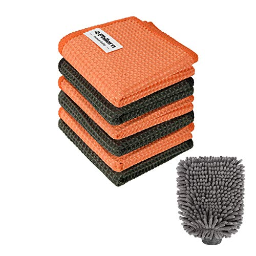 PHILORN Juego de Limpieza para Automóviles - Guante de Microfibra y Toalla de Limpieza Combinación de Limpieza Multifunción para Equipos de Exterior e Interior- Sin Rasguños