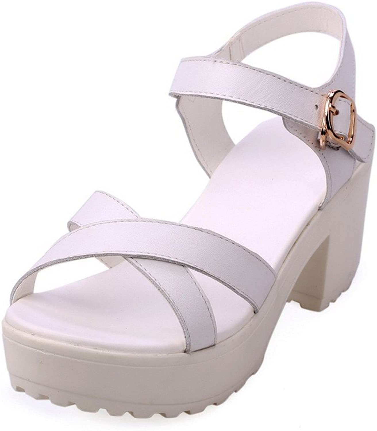 WeenFashion Womens Open Toe Kitten Heel Platform Cow Leather Soft Material Solid Sandals, White, 5 B(M) US