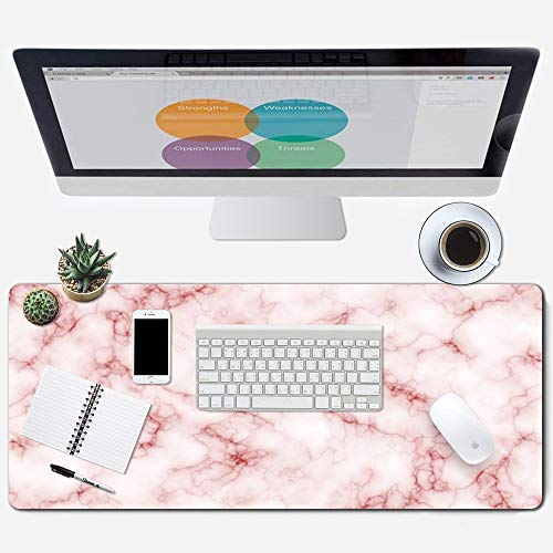 """ZYCCW Large Gaming XXL Mouse Pad with Stitched Edge 31.5""""x11.8""""x0.15"""" Pink Marble Mouse Mat Customized Extended Gaming Mouse Pad Anti-Slip Rubber Base Ergonomic Mouse Pad for Computer"""